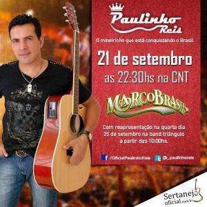 O cantor e compositor, Paulinho Reis será um dos convidados especiais do programa Marco Brasil, que vai ao ar pela CNT, no próximo sábado a partir das 22:30hs. O programa ainda irá receber as duplas; Rick e Renner, Alan e ...