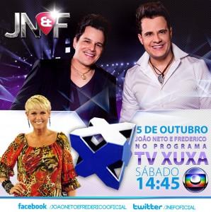 A dupla sertaneja João Neto e Frederico participa neste sábado, 05 de Outubro, do Programa TV Xuxa. A dupla era só sorrisos, afinal farão a segunda participação no programa da eterna Rainha dos Baixinhos. No programa a dupla irá cantar ...