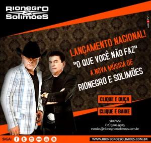 """A dupla sertaneja Rio Negro e Solimões anunciou hoje o lançamento da sua nova música de trabalho, """"O Que Você Não Faz"""". A canção, super romântica, tem uma letra e melodia gostosa de escutar.Escrita por Liandro, Leo Camaro e Rodrigo ..."""
