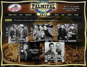 Está chegando a 21ª Festa do Peão de Palmital 2015, de 17 a 21 de abril, confira a programação: 17/04/2015 – Show com Jads e Jadson 18/04/2015 – Show com Jeann e Julio 19/04/2015 – Show com Bruno e Marrone ...