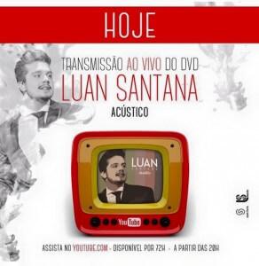 Para a alegria de seus fãs, o cantor Luan Santana anunciou em suas redes sociais que irá transmitir na íntegra, em seu canal do Youtube, o primeiro DVD acústico de sua carreira. A transmissão irá acontecer a partir de hoje ...