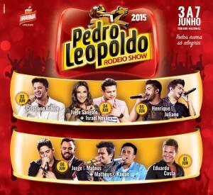 O Pedro Leopoldo Rodeio Show 2015 chega à 12ª edição com um line-up extenso marcado pelos mais variados estilos musicais: sertanejo, pop, axé, funk, pagode e eletrônico. Serviço: De 03 de junho (quarta) a 07 de junho (domingo), no Parque ...
