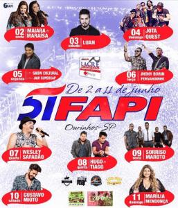 Fapi Ourinhos 2017 - Ingressos e Shows