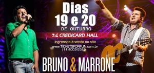 """Bruno e Marrone fazem duas únicas apresentações, no Credicard Hall, nos dias 19 e 20 de outubro da turnê que tem percorrido o Brasil em 2013. O sucesso das apresentações tem como carro chefe a canção """"Vidro fumê"""", que segundo ..."""
