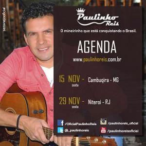 O cantor e compositor Paulinho Reis fará uma super apresentação na cidade de Cambuquira (MG) no próximo feriado (15/11). O ...