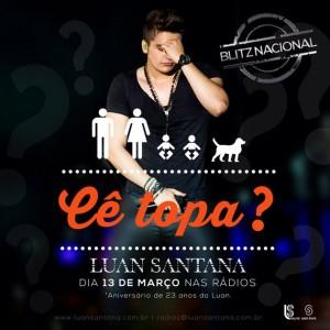 """Ontem, dia 13/03, foi aniversário do cantor Luan Santana e o artista aproveitou a data para fazer o lançamento oficial para todas as rádios do Brasil da sua atual música de trabalho, """"Cê Topa?"""". A canção já estava na programação ..."""