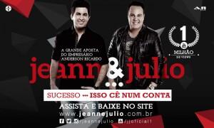 """Depois de fecharem parceria com a A.R Live, a duplaJeann e Julio comemora osucesso da música """"Isso Cê Num Conta""""."""