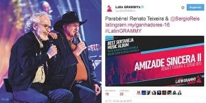"""Sérgio Reis e Renato Teixeira, foram os vencedores do Melhor Álbum de música sertaneja 2015 com """"Amizade Sincera II"""""""